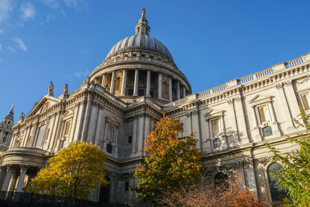 close up beautiful architecture of St. Paul Cathedral in London with bright clear blue sky in autumn