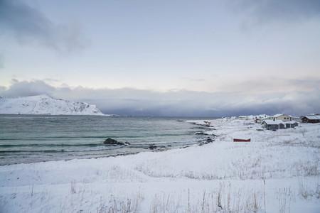 ocean coast full of snow in winter in Lofoten Island Norway