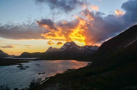 sunset moment with mountain range in Lofoten Islands Norway Фото со стока