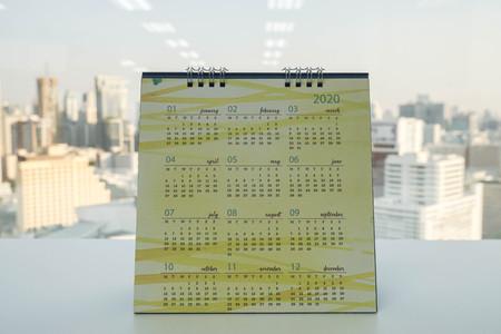 desk 2020 calendar on office table