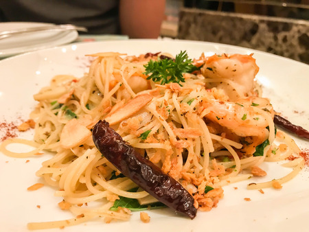 close up spicy prawn and hot chilies spaghetti for dinner
