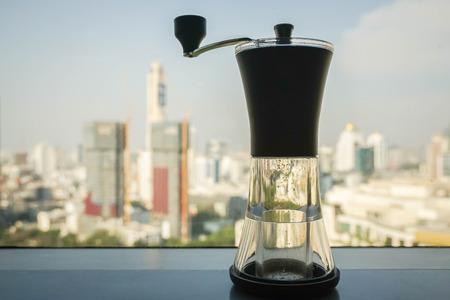 close up handy coffee grinder machine for brew coffee Фото со стока