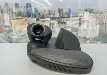 IP phone with camera for meeting VDO conference for business purpose in workplace