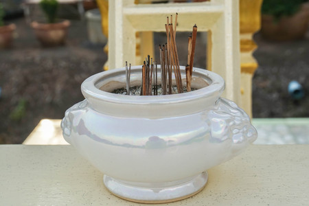 vintage ceramic joss stick pot for holy