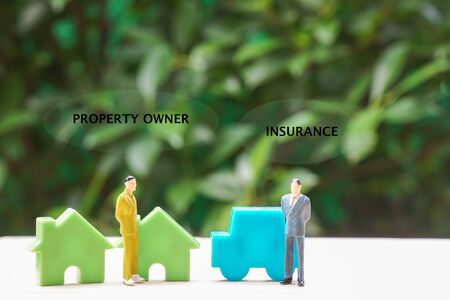 property insurance concept - icon of policy insurance underwriting and house and car owner