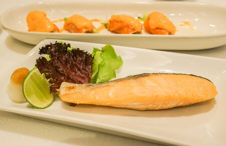 grilled salmon set in Japanese restaurant for lunch Stock Photo