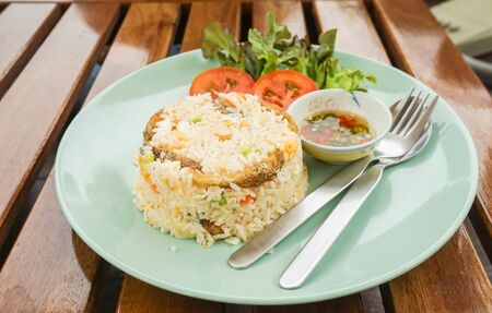 close up  fried rice with Snake Skin Gourami dish