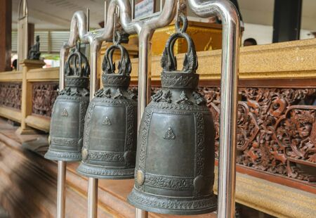 close up ancient vintage bell in temple for ringing