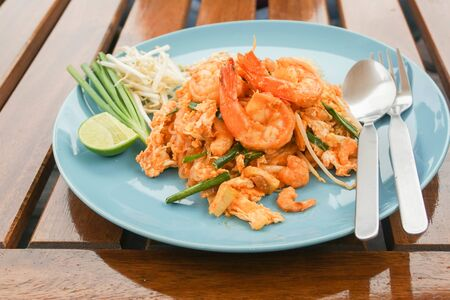 Pad Thai fried noodles nice dish in restaurant for lunch