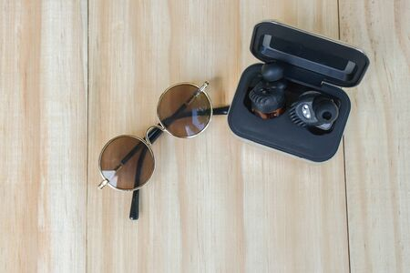 top view of round brown sunglasses with wireless speaker for music for summer outdoor activity