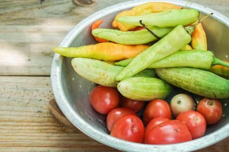 fresh cucumber, sweet pepper and tomato for cooking
