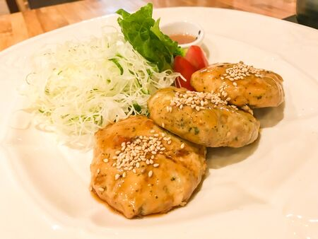 roasted minced chicken with white sesame for healthy lunch