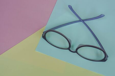 cute violet women eyeglasses for blue light protection on pastel background