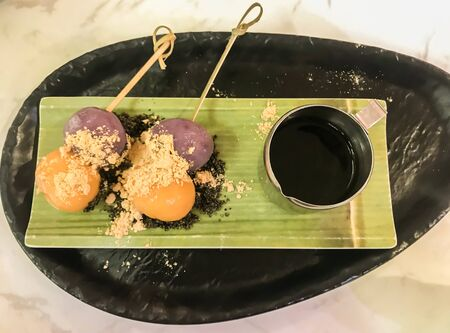 top view traditional Japanese Dungo with sweet sauce for dessert time