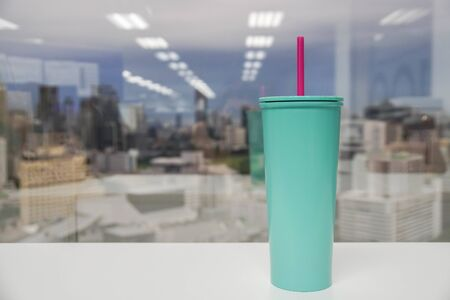 use own glass for coffee to reduce the plastic waste saving the world Stock Photo