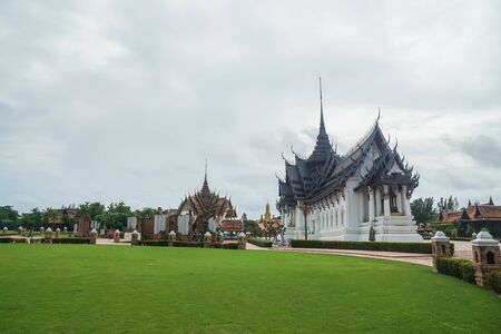 Samutprakarn  Thailand - August 12 2019: exquisite temple and palace built on large green yard in Ancient City