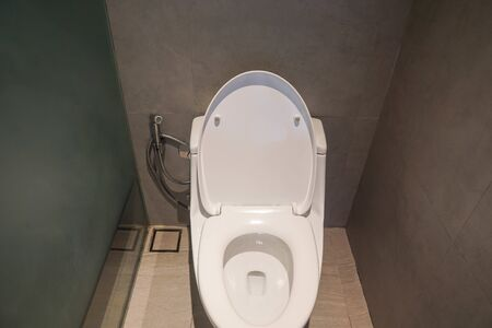 top view of clean white ceramic toilet bowl in luxury hotel Stock Photo