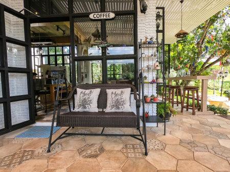 Korat  Thailand - November 12 2019: vintage cute interiors of homemade cafe