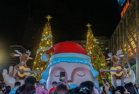 Bangkok  Thailand - December 25 2018 : people enjoy Christmas and New Year season greetings at Central World Editorial