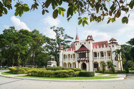 Nakornpathom  Thailand - August 12 2019: Chaleemongkolasana Residence with green yard for travel attraction Editorial