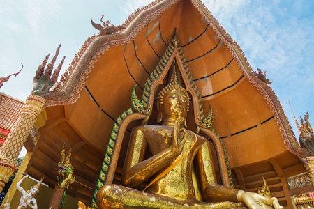 Tham Sua Temple  Kanchanaburi - October 18 2019: close up big beautiful gold Buddha for worship and respect Editorial