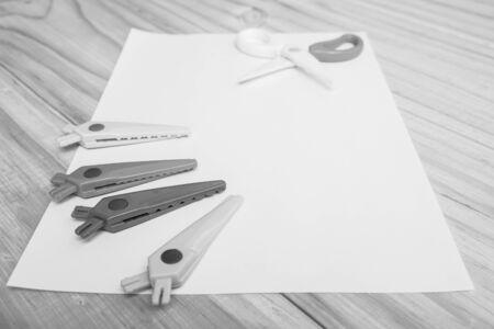 B&W zig zag scissors on the paper for creative artwork