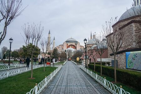 Istanbul  Turkey - December 9 2019: walkway to The Hagia Sophia Museum and Church