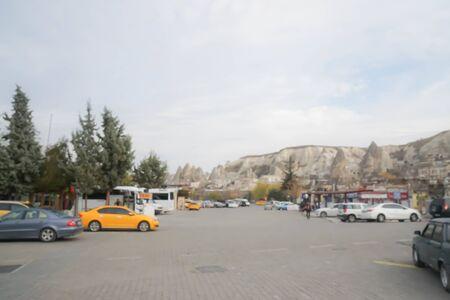 background defocus and blurred public car park area in Cappadocia town 写真素材