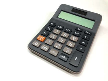 isolated modern digital calculator for finance and budget analysis in office
