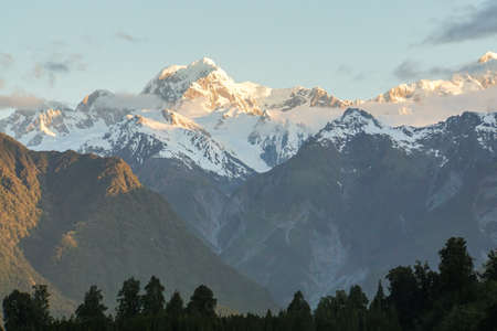 close up snow on the mountain peak at mirror lake in New Zealand Stock Photo