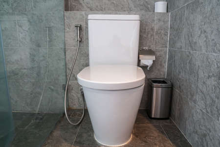 modern toilet interior of toilet bowl in bathroom
