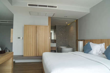 Huahin Thailand - February 14 2021: modern bedroom interiors in luxury hotel fit with double bed for honeymoon