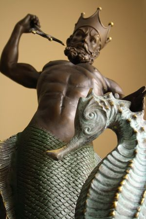 gods: Statue of god Neptune with seahorse Stock Photo