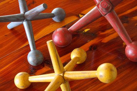 jacks: Antique group of wooden jacks