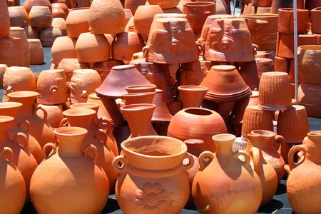 planters: Assortment of red clay pots and planters Stock Photo