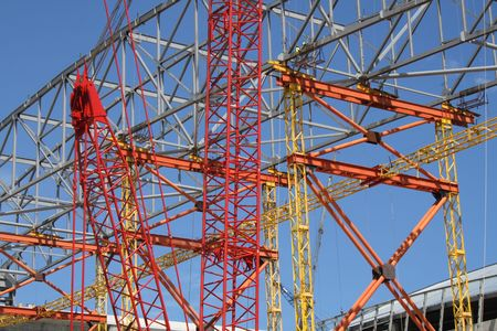 constrution: Building constrution frame and cranes background Stock Photo