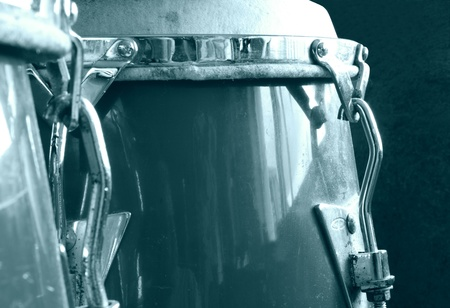 Set of conga drums monochrome photo