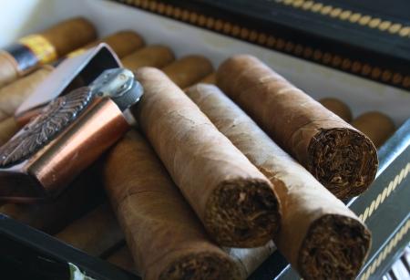 expensive: Cuban cigar box and lighter