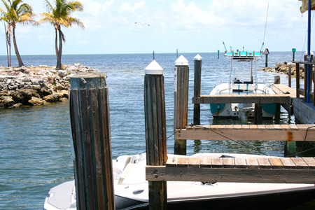 typical: Typical Florida Keys marina withe vessel ocean front