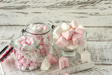 Marshmallow. Close-up of Marshmallows colorful chewy candies closeup. Sweet food dessert