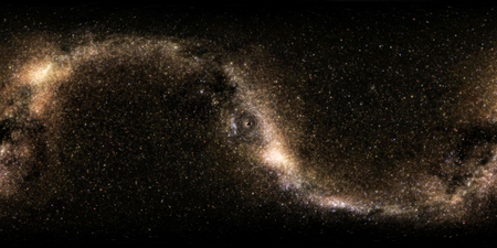 Panoramic 360 degree. Deep space, darkness and stars. The formation of a small black hole. The rotation of space and time.
