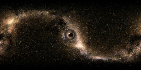 360 degree panoramic. Deep space, darkness and stars. The formation of a small black hole. The rotation of space and time.