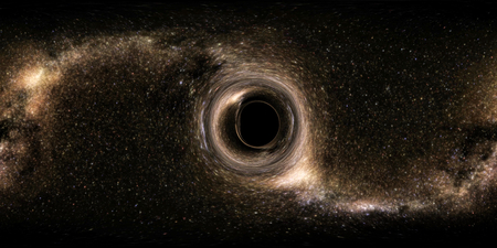 Panoramic 360 degree. Deep space, darkness and stars. The formation of an average black hole. The rotation of space and time.