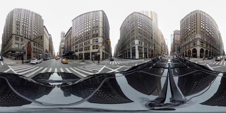 Panoramic 360 degree. Sights and streets of New York City (NYC). Early spring. Noon. 新聞圖片