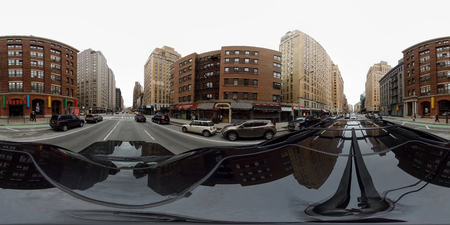 360 degree. Streets and sights of New York City (NYC). Early spring. Noon. Редакционное