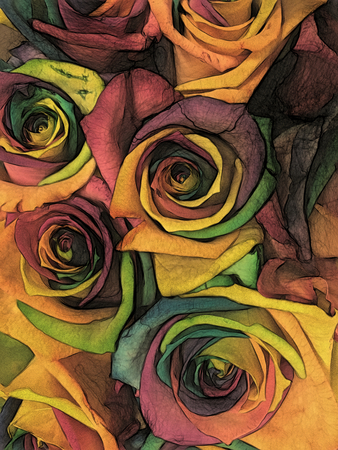 Bouquet of roses of all colors of the rainbow. Multi-colored flower buds close-up. Texture artistic drawing. Art draw creamy yellow canvas style. Stock fotó