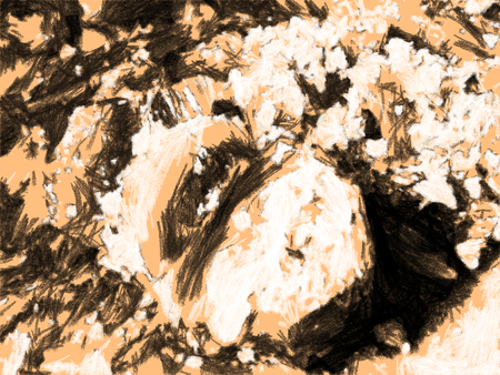 Abstract crystals of rock salt close up. Smooth cut of salt formation. Texture artistic drawing. Charcoal dense strokes style.