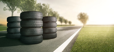 Car tires on the street Archivio Fotografico