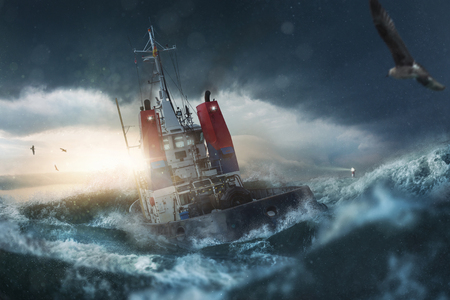 Ship in the storm on the sea Standard-Bild