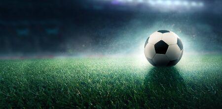 Soccer ball is on the field 版權商用圖片